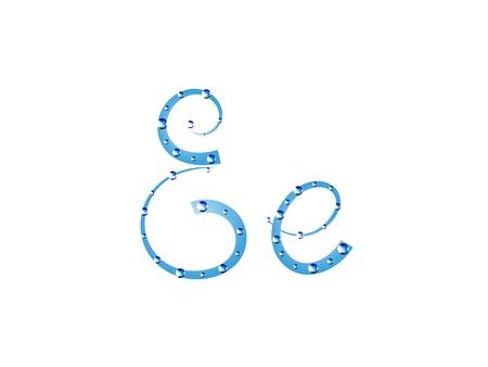 e alphabet: Fairy aqua alphabet isolated on white background. Letter E  Illustration