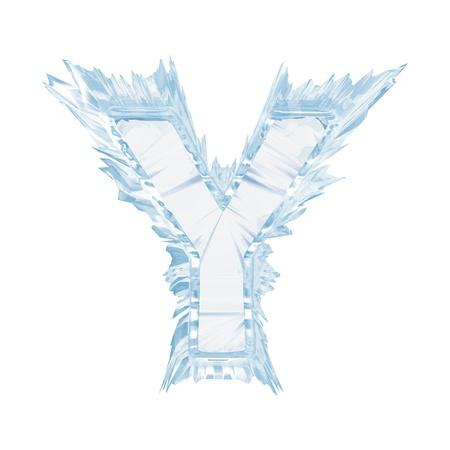 Aislar en letra blanca de la fuente de cristal de hielo Foto de archivo - 21584401