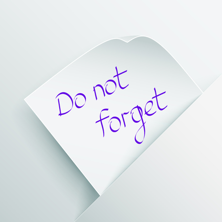 White stick note with message  Do not forget  inserted in a paper pocket Stock Vector - 23090892