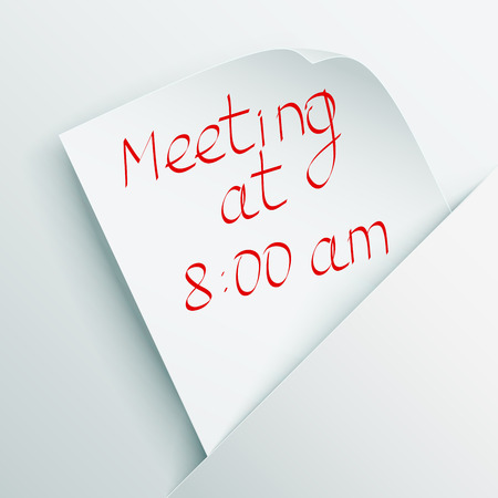 White stick note with message  Meeting at 8 00  inserted in a paper pocket   Stock Vector - 23090897