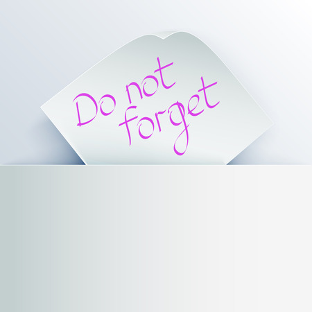 recess: White stick note with message  Do not forget  inserted in a paper pocket   Illustration