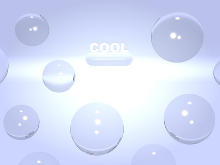 airiness: Bright background with the word cool and glass balls