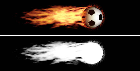 Flying soccer ball with a fiery tail  Alpha channel is included photo