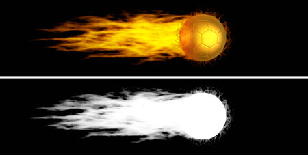 Flying golden soccer ball with fiery tail  Alpha channel is included photo
