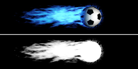 Flying soccer ball with a blue fiery tail  Alpha channel is included photo