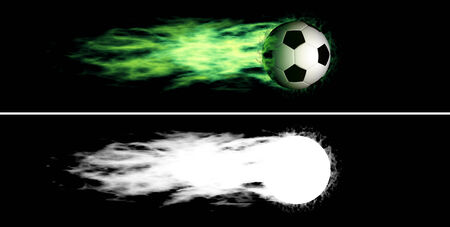 Flying soccer ball with a green fiery tail  Alpha channel is included photo