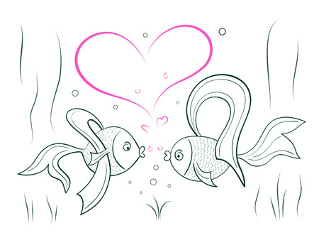 bionomics: Sketch of couple in love fairy goldfish.