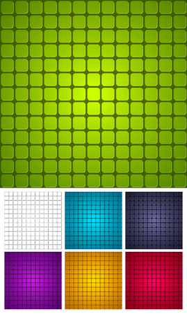 tiled: Tiled background of repeating rectangles with rounded corners.
