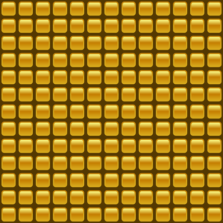 Tiled golden vector  background of repeating rectangles with rounded corners. Vector