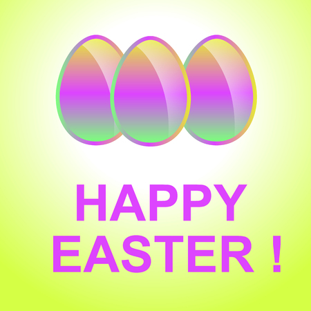 gladness: Holiday background with colorful  Easter eggs. Happy Easter. Illustration