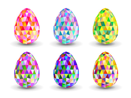 covenant: Crystal colorful  Easter eggs. Set of crystal colorful  Easter eggs. Colorful Easter Egg with triangular faces.