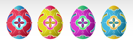 Set of  Easter Eggs with pattern. Various colors.