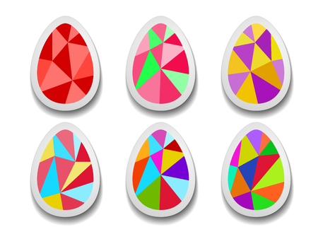 Set of colorful Easter eggs of triangles. Clip-art objects.