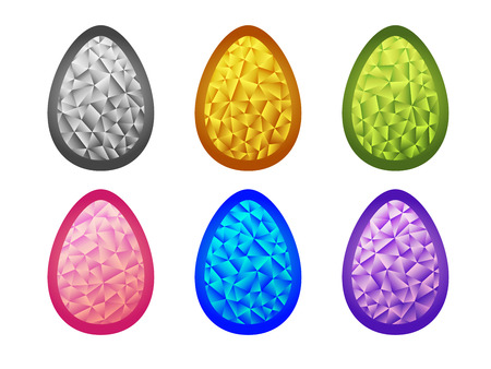 tessellated: Colorful jewelry Easter eggs. Set of crystal colorful  Easter eggs.