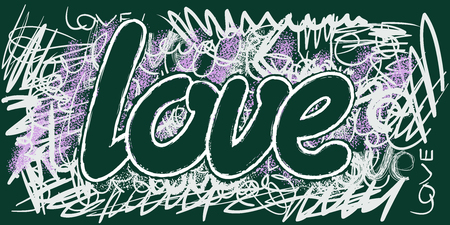 whitewash: Caption chalk on a blackboard. The word Love.