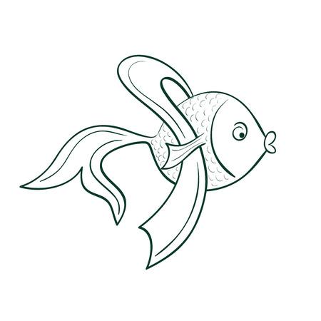 golden fish: Sketch of fairy golden fish.