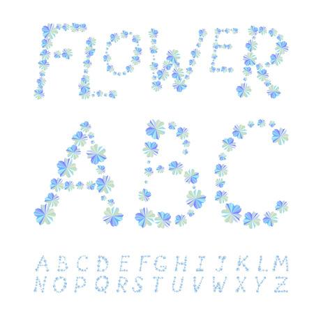 ébredés: Betűtípus formájában kék virágok Illusztráció