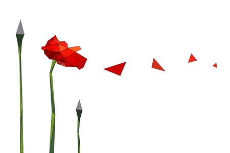 burgeon: Poppy flower of triangles and triangular petals flying in the wind. Different stages of development. Illustration