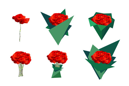 bourgeon: Set bouquets of poppies. Vector icons for use in design. Illustration