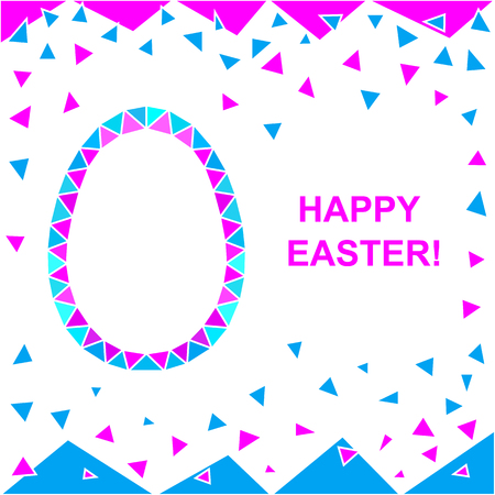 easter background: Happy Easter. Vector Abstract Easter background with stylized Easter egg made up of triangles.