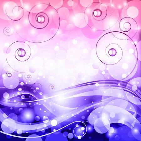 fib: Fondo de fantas�a de vectores de fondo con olas estilizadas, rizos y bokeh. Vectores