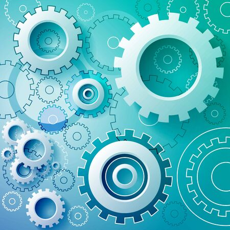 gear: Abstract turquoise background with mechanical gears.