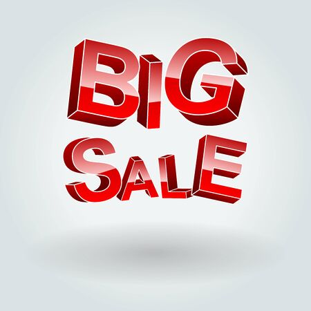 volumetric: Big Sale. The inscription of the three-dimensional letters with a shadow. To use for promotional purposes.
