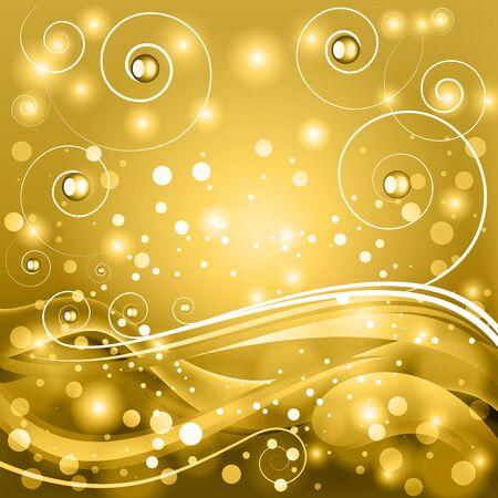 fib: Fondo de oro del vector de la fantas�a con rizos estilizados y bokeh. Vectores