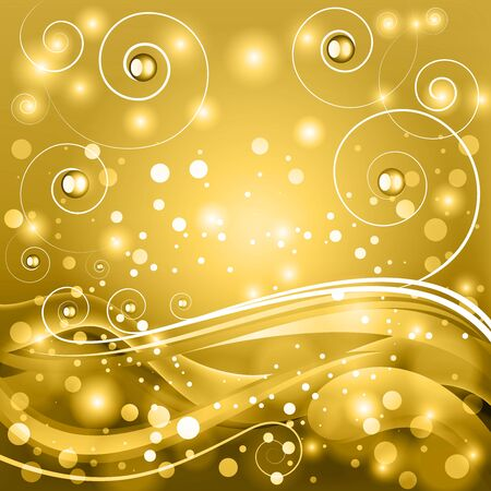Golden fantasy vector background with stylized curls and bokeh. Illustration