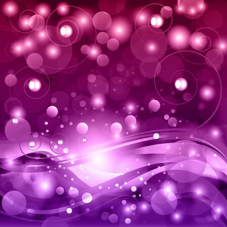 Beautiful fantasy vector background with stylized waves, curl  and bokeh. Illustration