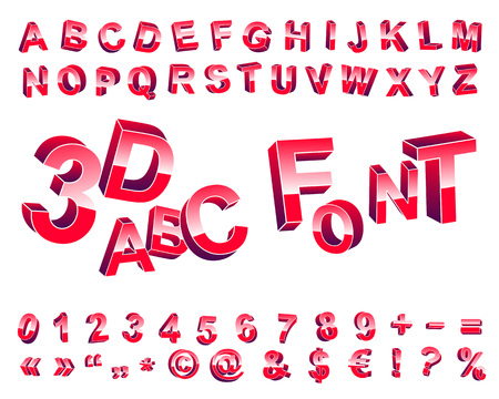 orientation: Font set of three-dimensional letters of different orientation in space.