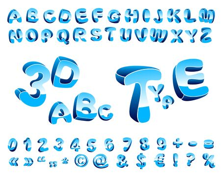 orientation: Cartoon alphabet of three-dimensional letters of different orientation in space. Illustration