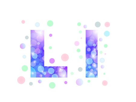 Alphabet from bokeh texture in bright blue and purple color.  Letter L.