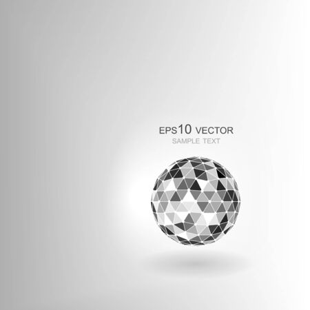 freestanding: Abstract technology background. Freestanding polygonal sphere with shadow.