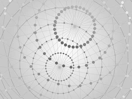 technical background: Abstract tech background with  lattice sphere and nodes. Close-up background.