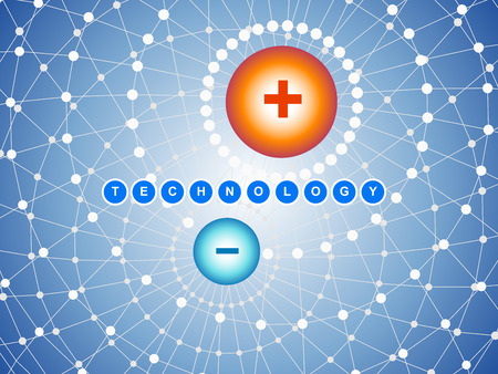 electrons: Abstract technology background with positive and negative charges.