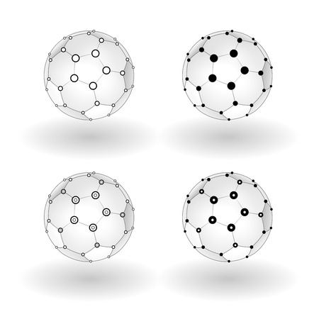 geosphere: Set of  wireframe soccer ball with connected lines and dot.