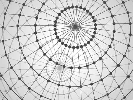 hull: Abstract tech background with lattice  sphere. Close-up background. Illustration