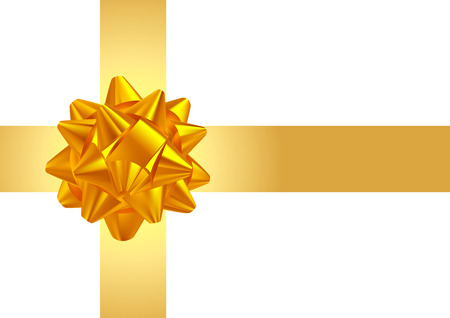 compliments: Template greeting card with realistic golden bow on yellow  intersecting stripes.
