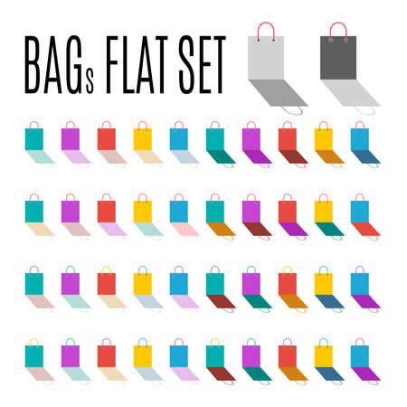 packets: Bags flat set. Modern icons packets of different color variations.