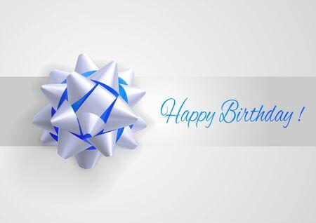 marco cumpleaños: Tarjeta de felicitación de la plantilla con el arco blanco y azul realista. Felicitaciones de cumpleaños.