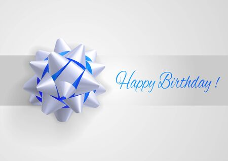 greetings card: Template greeting card with realistic white and blue bow. Birthday greetings. Illustration