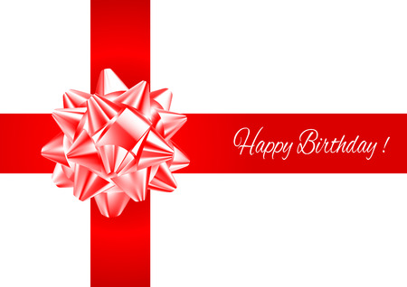 compliments: Template greeting card with realistic red and white bow on red  intersecting stripes with birthday greetings.
