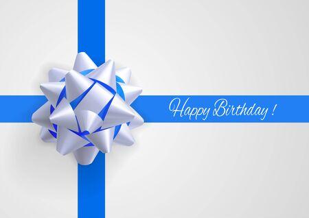 felicitaciones cumpleaÑos: Tarjeta de felicitación de la plantilla con el arco blanco y azul realista en rayas azules de intersección con saludos de cumpleaños.