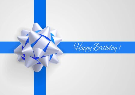 blue bow: Template greeting card with realistic white and blue bow on blue intersecting stripes with birthday greetings. Illustration