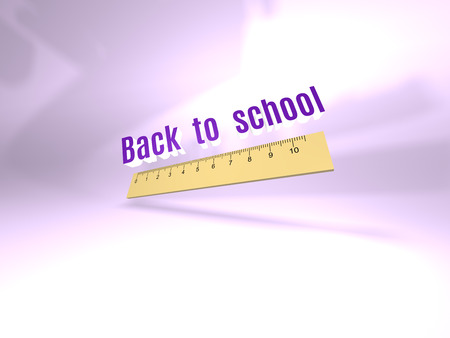 wooden cut: Back to school background with ruler.