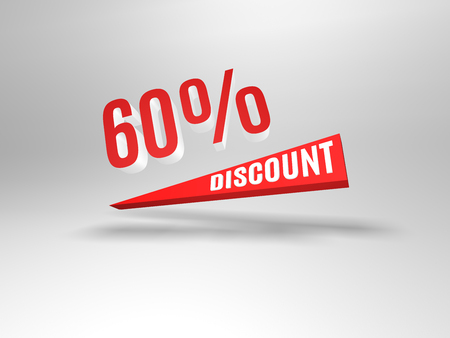sixty: Sixty percent discount symbol.  Background with 3d object. Stock Photo