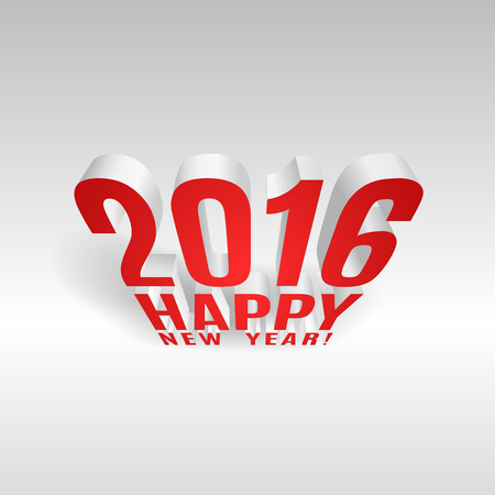 two thousand: 2016 Happy New Year message three dimensional composition.