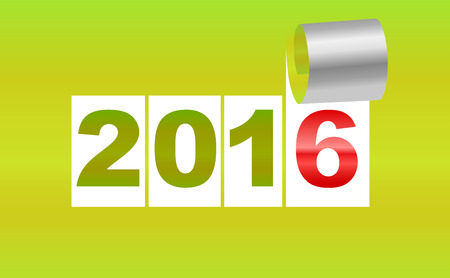 severance: Number 2016. Green background sheet of  with curl. New Year background. Christmas background. Vector EPS10.