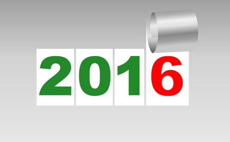 severance: Number 2016. White background sheet of with curl. New Year background. Christmas background. Vector EPS10.